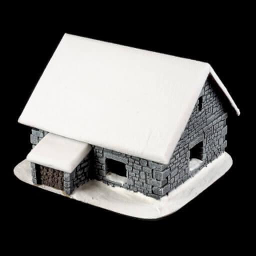 Schneebedecktes Steinhaus 1