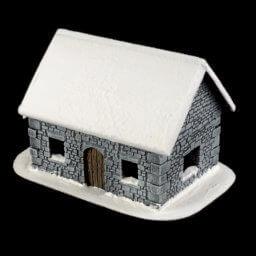 1. Produktabbildung - Schneebedecktes Steinhaus 2