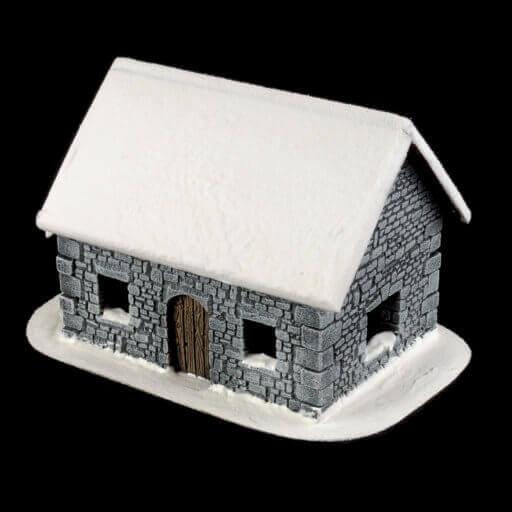 Schneebedecktes Steinhaus 2